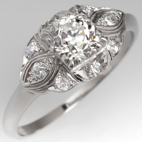 1930's Antique Engagement Ring Old Euro Diamond Platinum