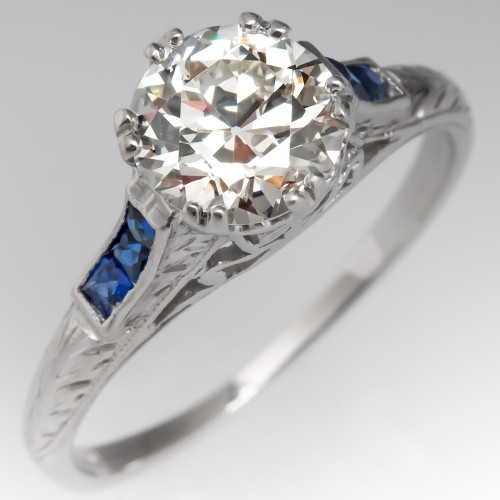 Art Deco Filigree Engagement Ring Old Euro Diamond w/ Sapphires