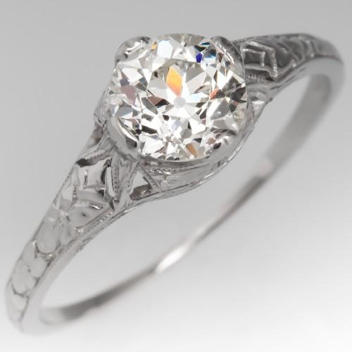 Orange Blossom Antique Filigree Engagement Ring Old Euro Diamond Platinum
