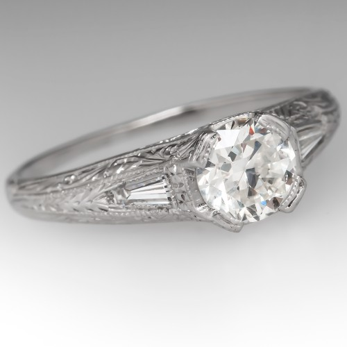 Stunning Diamond Filigree Vintage Engagement Ring Platinum Engraved