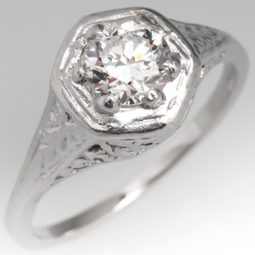 Vintage Transitional Cut Diamond Filigree Engagement Ring in Platinum