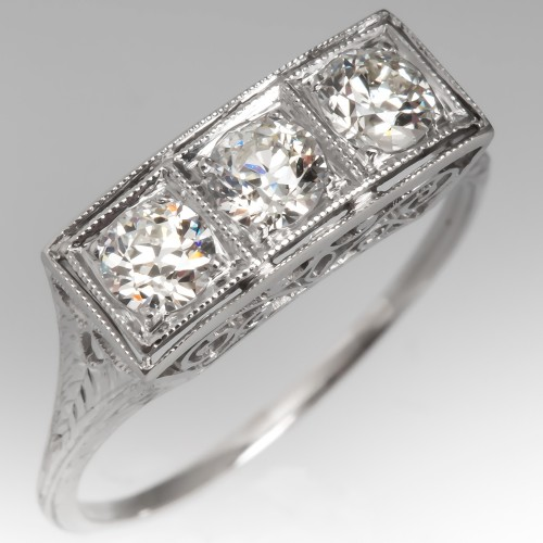 Antique Three Stone Diamond Filigree Ring Platinum Engraved