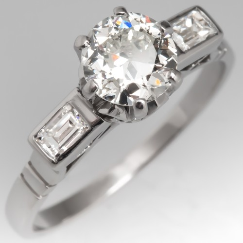 1920's Antique Engagement Ring Old Euro Diamond w/ Baguettes Platinum