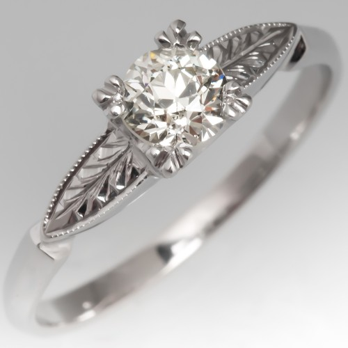 Vintage Engagement Ring Old European Cut Diamond 14K w/ Engravings