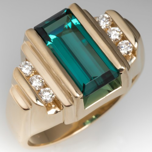 Estate Blue-Green Tourmaline Cocktail Ring 14K Yellow Gold