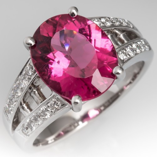 Large Untreated Pink Tourmaline & Diamond Cocktail Ring 18K White Gold
