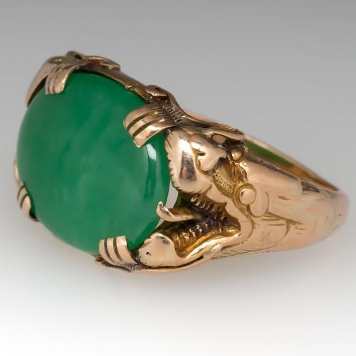 Vintage Grade A Untreated Jadeite Jade Dragon Ring 18K Gold