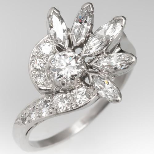 Amazing 1950's Vintage Floral Diamond Ring Platinum