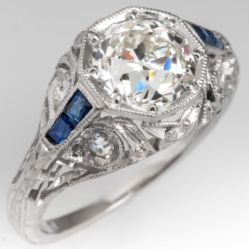 Filigree Art Deco Engagement Ring Old European Cut Diamond w/ Sapphires