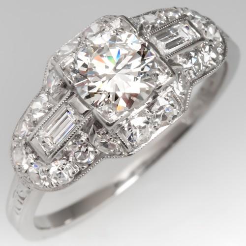 Vintage Engagement Ring 1/2 Carat Round Brilliant Diamond
