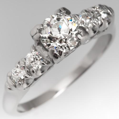 Antique 1/2 Carat Old Euro Diamond Engagement Ring Platinum