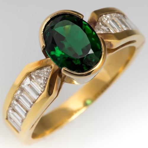 Vivid Green Tourmaline Ring w/ Diamonds 18K Yellow Gold