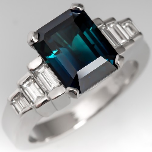 Dark Rich Blue-Green Sapphire Engagement Ring w/ Baguette Diamonds
