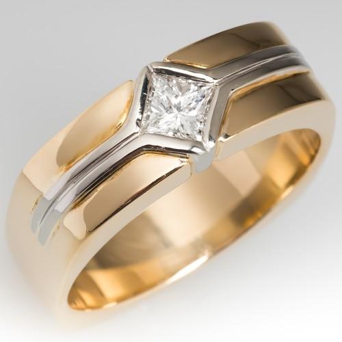 Heavy Mens Estate Princess Cut Diamond Band Ring 14K Gold