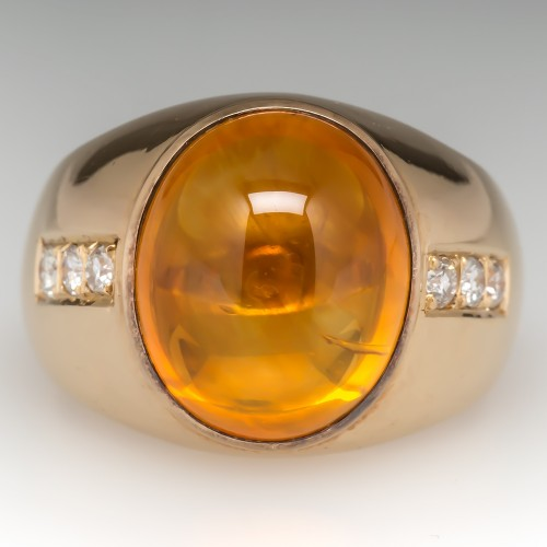Vintage Mens Orange Sapphire & Diamond Ring 14K Gold