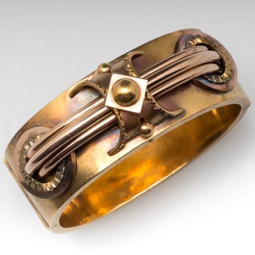 Large Antique Wide Cuff Bracelet 14K Gold Victorian Design, Patina