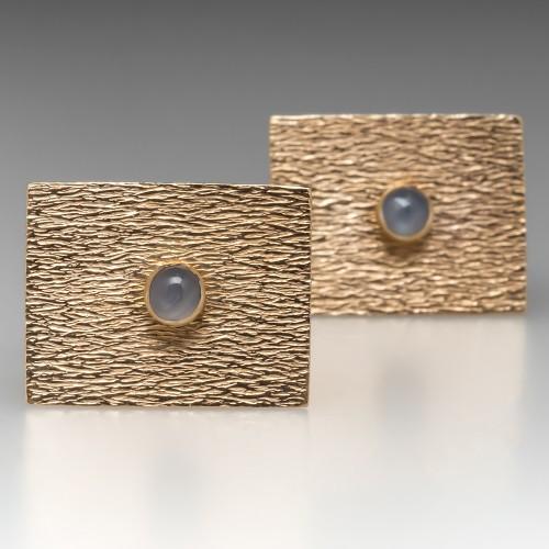 Vintage Star Sapphire Mens Cufflinks 14K Gold