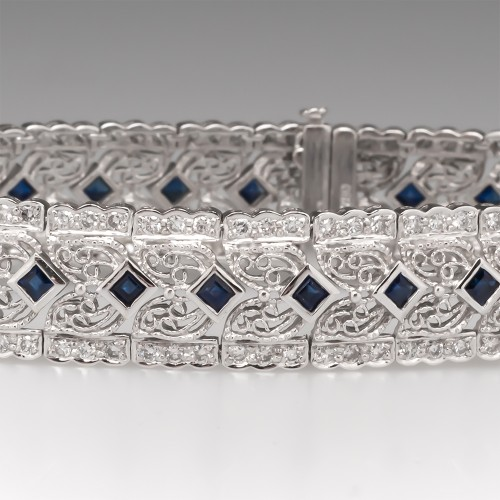 Blue Sapphire & Diamond Filigree Bracelet 18K White Gold