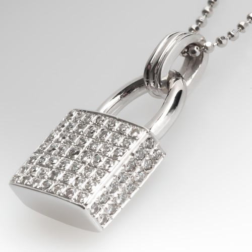 Diamond Encrusted Lock Necklace 14K White Gold