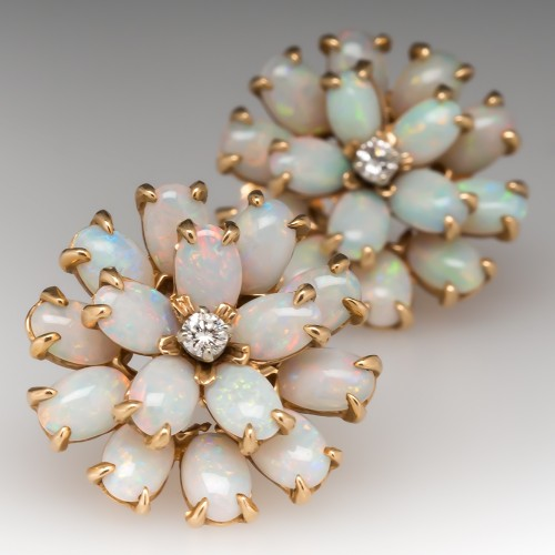 Vintage Opal Cluster and Diamond Earrings 14K Gold
