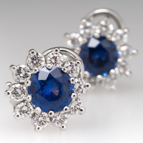 Beautiful Blue Sapphire & Diamond Halo Earrings 14k White Gold