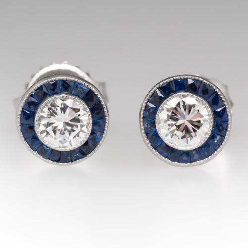 Diamond Stud Earrings w/ Blue Sapphire Halo Platinum