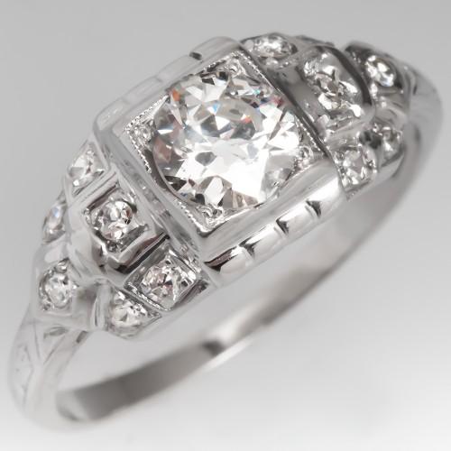 Art Deco Engagement Ring Old Euro Diamond Platinum Geometric