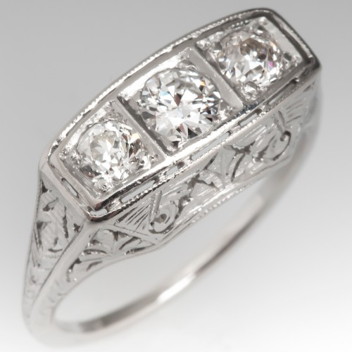 Vintage Filigree Three Stone Old Euro Diamond Ring Platinum