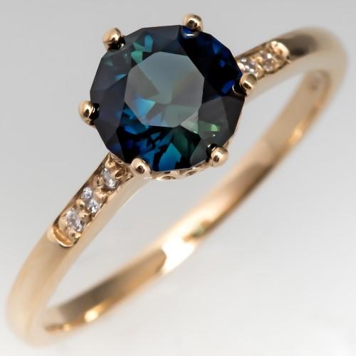 Dark Green-Blue Sapphire Engagement Ring 14K Gold Crown Head