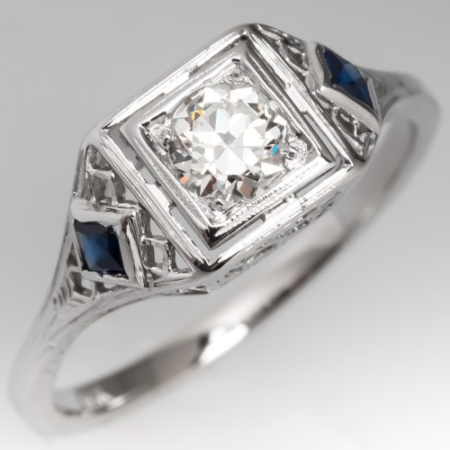Late Art Deco Filigree Engagement Ring Transitional Cut Diamond w/ Sapphires