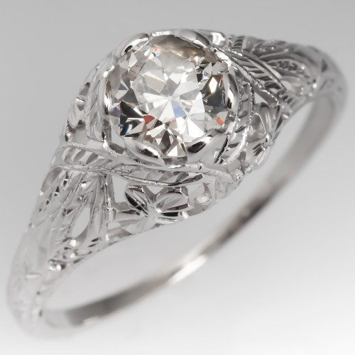Filigree Antique Engagement Ring 3/4 Carat Old European Cut Diamond