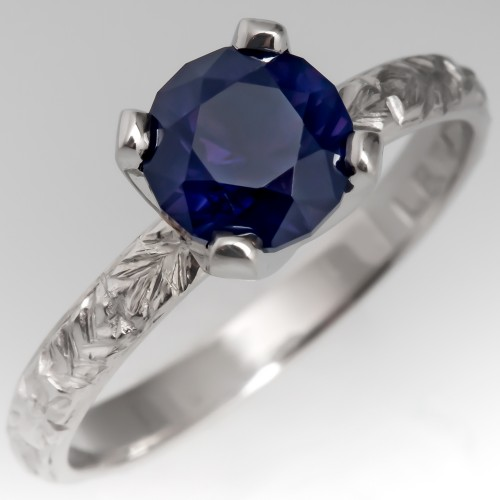 No Heat Lavender Sapphire Solitaire Ring w/Antique Floral Platinum Band