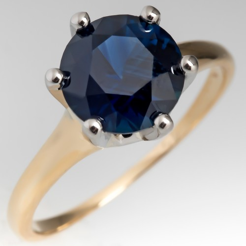 No Heat 2 Carat Very Dark Blue Sapphire Solitaire Engagement Ring 6-Prong
