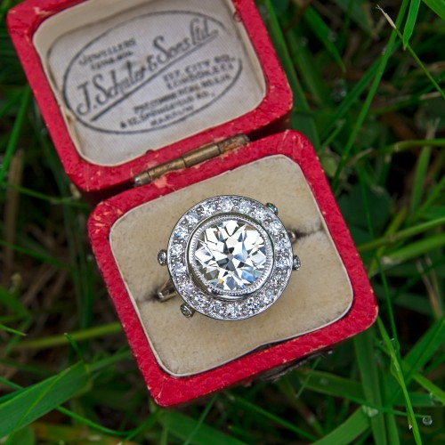 Antique Halo Engagement Ring Nearly 3CT Old Euro Diamond Platinum