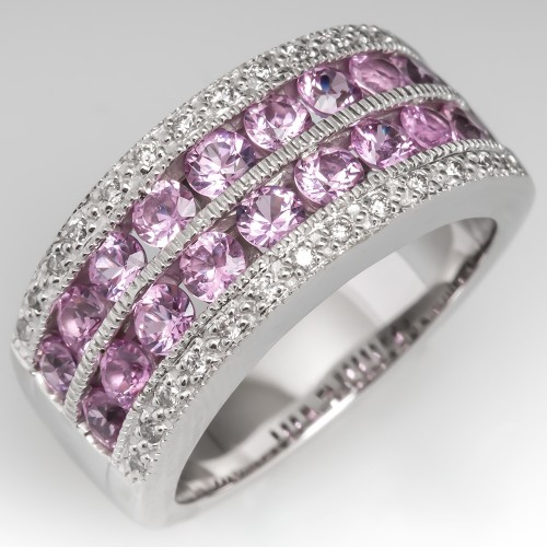 Pink Sapphire & Diamond Wide Band Ring Channel Set 14K White Gold