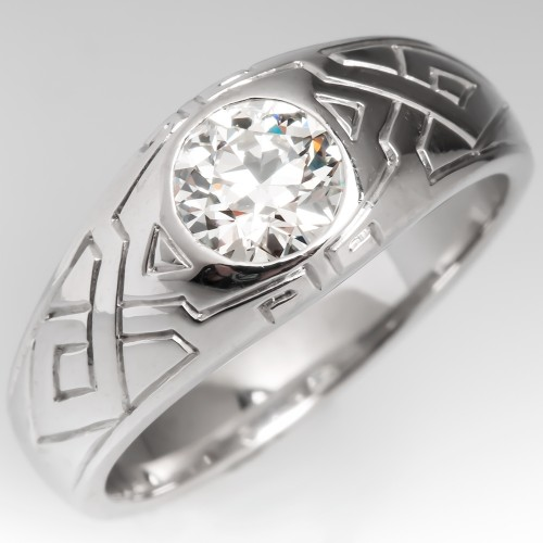 Mens Old Euro Cut Diamond Geometric Tribal Design Platinum