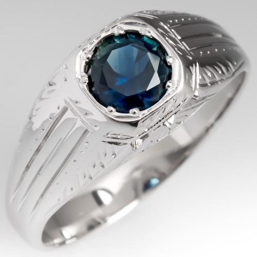 Vintage Mens Ring No Heat Blue Green Sapphire 18K White Gold