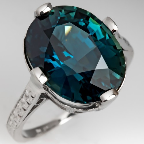 7 Cart Blue-Green Sapphire Ring Antique Platinum Engraved Mounting