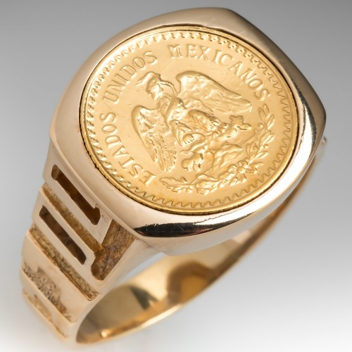 Vintage 14K Gold Mens Coin Ring 1945 Dos Y Medio Mexico