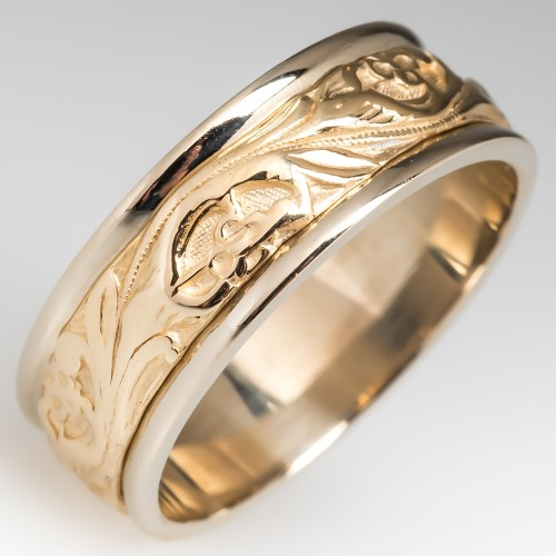 Mens Floral Design 2-Tone 14K Gold Wedding Band Size 11.25