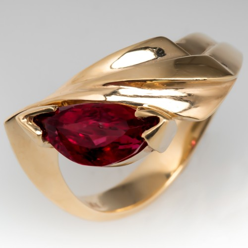 Red Tourmaline Gemstone Ring 14k Yellow Gold