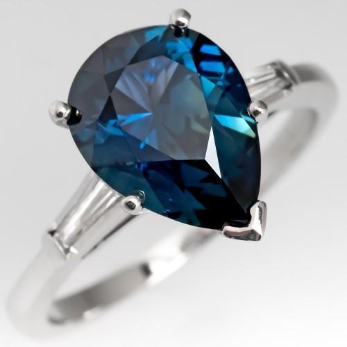3 Carat Pear Cut Blue Green Sapphire Engagement Ring Platinum