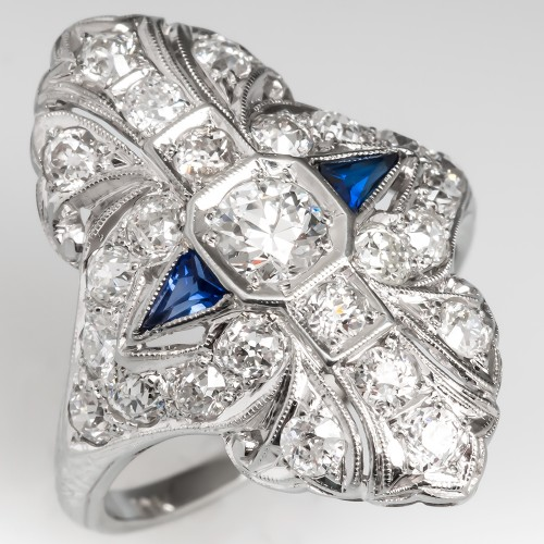 Art Deco North to South Dinner Ring Old Euro Diamond & Sapphires 18K