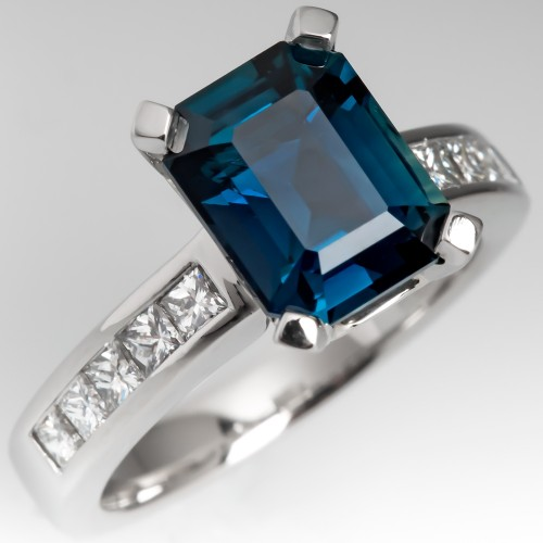 Emerald Cut 3 Carat Blue Green Sapphire Engagement Ring Platinum