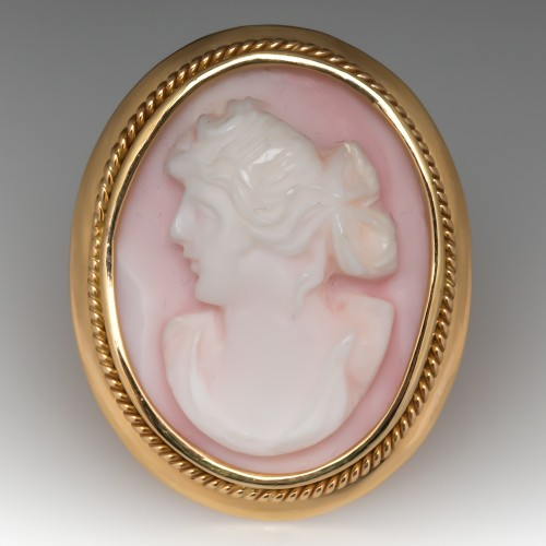 Vintage Pink Shell Maiden Cameo Cocktail Ring 14K Yellow Gold