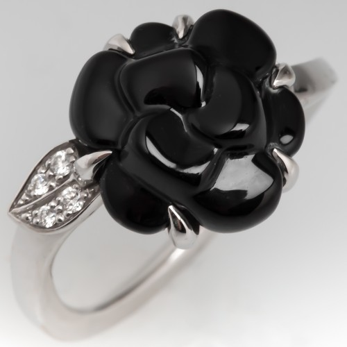 Chanel Camelia Flower Black Onyx & Diamond Ring 18K White Gold