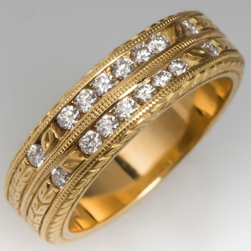Fully Engraved Diamond Double Band Ring 18k Yellow Gold, Size 6