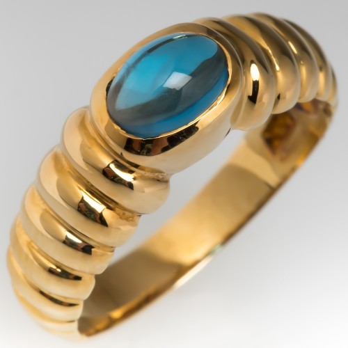 Blue Topaz Gemstone Cabochon Ring 14K Gold Ribbed Design