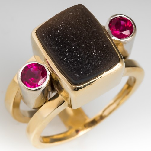 Druzy Quartz & Ruby Custom Gemstone Ring 14K Gold