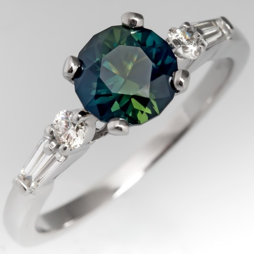 Green Blue No Heat Sapphire Diamond Engagement Ring Platinum